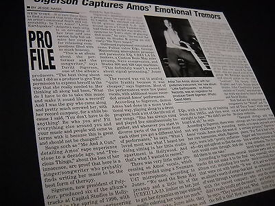 TORI AMOS ....Emotional Tremors detailed 1992 INDUSTRY ONLY promo trade article