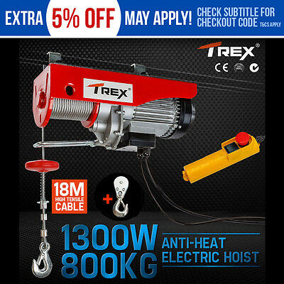 T-REX Electric Hoist Winch 400kg/800kg Cable Lift Tool Remote Chain Lifting Rope
