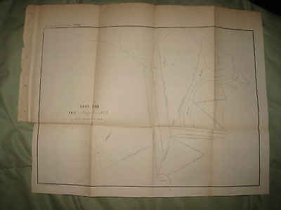 Antique 1854 East End Of Erie Harbor New York Map Erie County Rare Fine Nr
