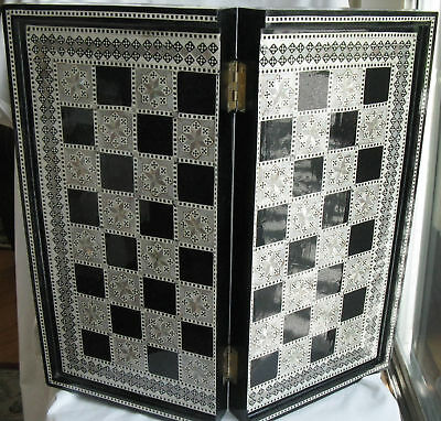 """Egyptian Inlaid Mother Pearl Wooden Backgammon Board 21"""" Black Sale"""