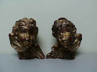 Great Pair Antique Italian Gilt Wood Putti / Cherub Carvings