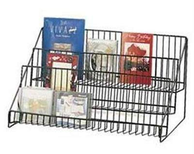 AYS Retail 3 Tier Wire Counter Books & Literature Product Display Rack (Black)