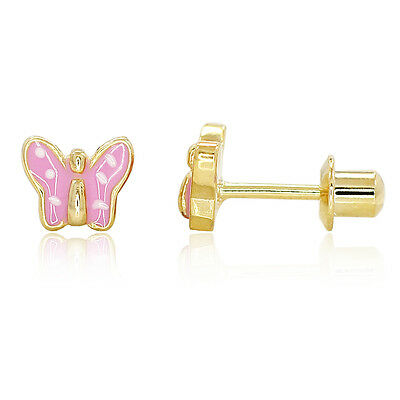 Gold Filled 18k Pink Polkadots Baby Children Screwback Butterfly Earrings 4mm