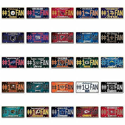 NFL #1 Fan Metal Car License Plate Auto Tag - Choose Your Team! FREE Shipping!!
