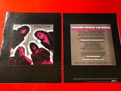 "BIG 14x22 ORIGINAL & RARE JEFFERSON STARSHIP ""NO PROTECTION"" LP CD PROMO AD"