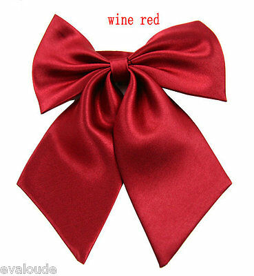 Wine Red Burgundy Ladies Fashion Satin Bow Knot Neck Tie Cravat Casual Party