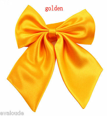 Golden Yellow Ladies Fashion Satin Style Bow Knot Neck Tie Cravat Casual Party