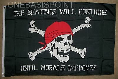 3'x5' Pirate Flag Beatings Will Continue Until Morale Improves Jolly Roger 3X5