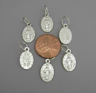 Lot 6 SMALL Miraculous Medal ITALY Charm for Rosary Bracelets M101 finish SILVER