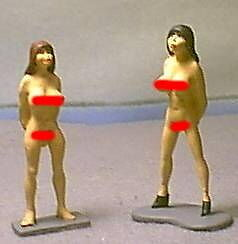 HAND PAINTED METAL ANCIENT NUDE ROMAN SLAVES 54MM 2PC