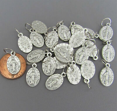 Lot 25 SMALL Miraculous Medal Italy for Rosary Bracelets M101 finish SILVER 25pc