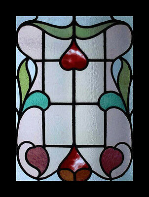 Art Nouveau Antique English Floral Stained Glass Window