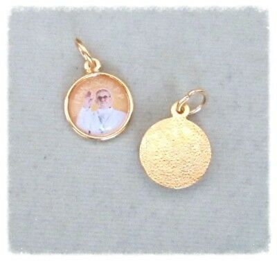 Lot 2 Pope FRANCIS Holy Medal Small GOLD finish COLOR A112G
