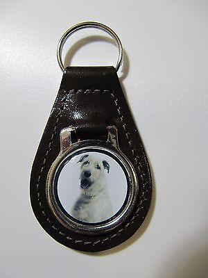 Irish Wolfhound Dog Key Ring Leather Fob Ideal Gift 8D