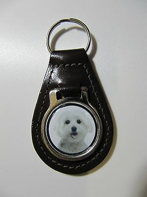 Maltese Dog Key Ring Leather Fob Ideal Gift  8F