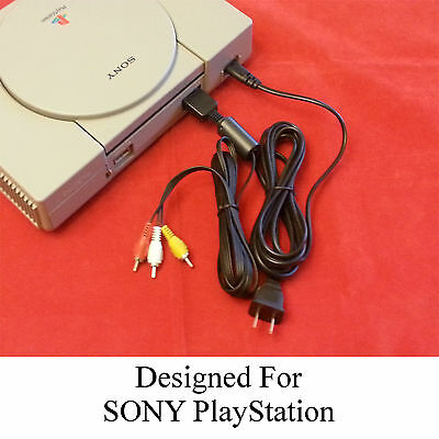 DUAL COMBO Sony PS1 Playstation 1 Power Cord Cable & A/V Audio Video Cables