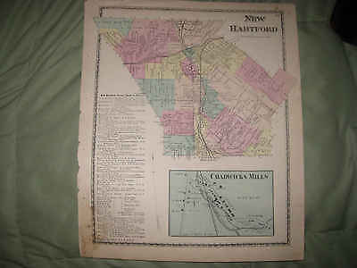 ANTIQUE 1874 NEW HARTFORD WASHINGTON MILLS ONEIDA COUNTY NEW YORK HANDCLR MAP NR