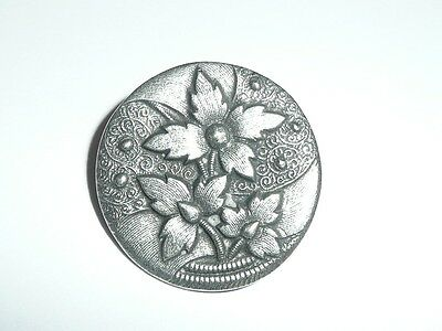 Awesome Antique Reproduction Flowers Metal Shank Button - Silver Toned 1-1/16""