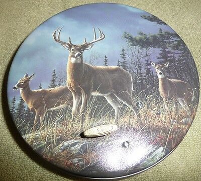 Cookie Candy round novelty Tin with music box deer plays Born Free