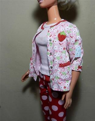 My Size Barbie Pink Top, Red Leggings w Big Pink Dots & Strawberry Jacket