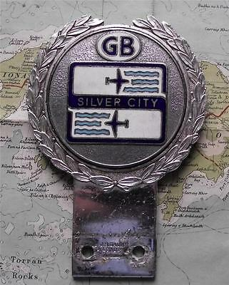 Old Quality Chrome Car Mascot Badge for Silver City GB Aviation by Gaunt