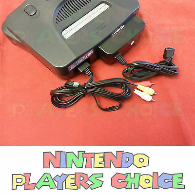 NEW COMBO AC Power Adapter Cord + Audio Video AV Cable For Nintendo 64 System