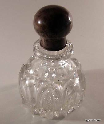Antique Victorian Charles Mappin Cut Glass Perfume Cologne Bottle Sterling Lid