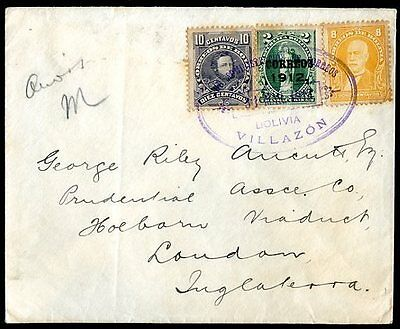 BOLIVIA TO GREAT BRITAIN VILLAZON Cancel on Cover 1912 VF