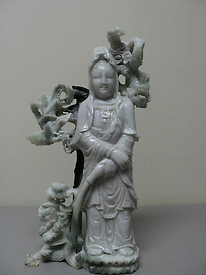 "Stunning Antique Chinese Hand Carved Jade ""kwan-Yin"" / ""quan Yin""  Figurine"