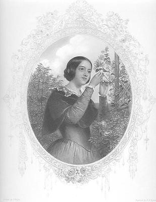 CUTE Victorian Girl in GARDEN FLOWERS Antique Art Print Engraving EARLY 1800s