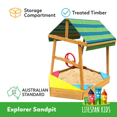 Lifespan Explorer Sandpit/Sand Pit with UV Canopy Steering Wheel 1.4m tall