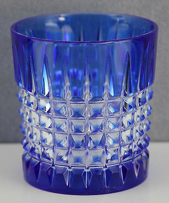 PRE-OWNED CRISTAL d'ARQUES OLD FASHION GLASS BLUE CUT TO CLEAR PAVANE PATTERN