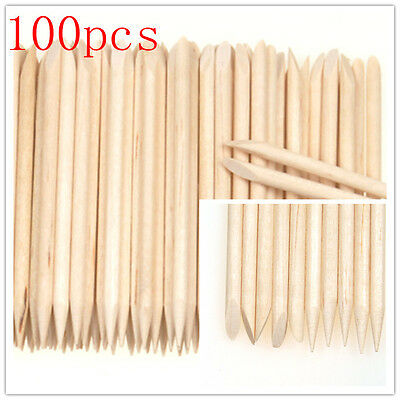 100Pcs Orange Wood Stick Nail Art Cuticle Pusher Remover Pedicure Manicure Tool