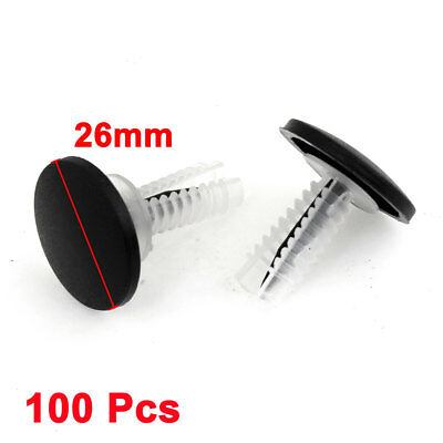 100 Pcs Car Clear Black Plastic 7mm Hole Dia Trim Fender Rivets Push Fastener