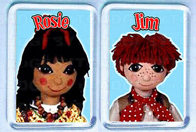 ROSIE and JIM pair of SMALL FRIDGE MAGNETS - SO COOL!