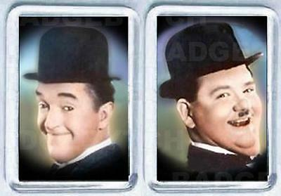 LAUREL and HARDY COLOUR SMALL pair of  FRIDGE MAGNETS - CLASSIC COOL!