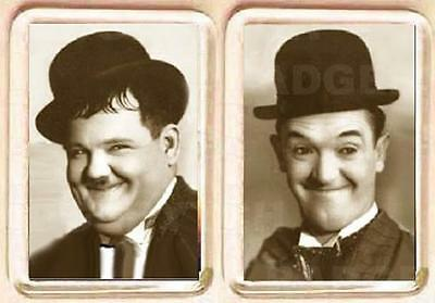 LAUREL and HARDY BLACK & WHITE SMALL pair of  FRIDGE MAGNETS - CLASSIC COOL!