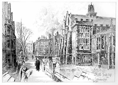 MIDDLE TEMPLE HALL CHURCH FOUNTAIN COURT HERBERT RAILTON OLD Antique Art Print