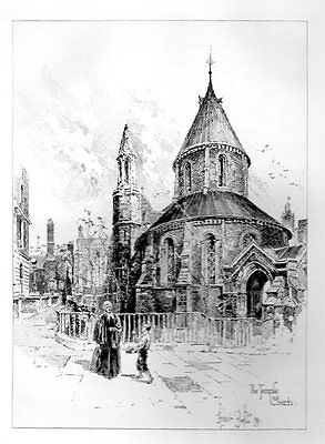 TEMPLE CHURCH by HERBERT RAILTON ETCHING SIGNED in PLATE 1890s Antique Art Print