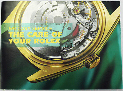 . Genuine Rolex Factory Service Booklets - The Care Of Your Rolex Various Years