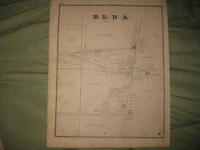 Antique 1876 Elba City Genesee County New York Handcolored Map W Land Owners Nr