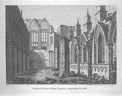 HOLY ROOD CHAPEL Engraving RARE Scotland Antique Print