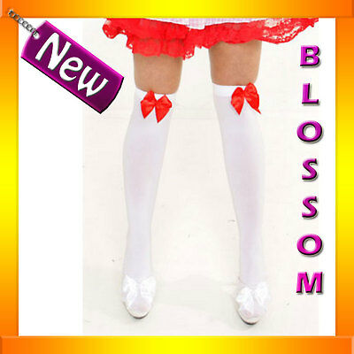 9095-2 Fancy Dress Costume White Red Ribbon Stockings