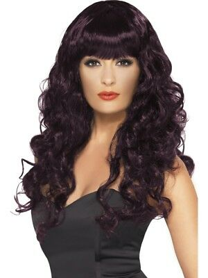 Plum Siren Wig Long, Curly with Fringe Adult Womens Smiffys Fancy Dress Costume