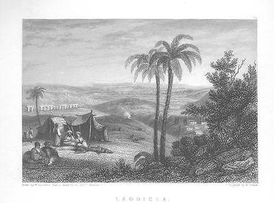 LAODICEA Engraving Holy Land RARE Antique Art Print 1800s Engraving