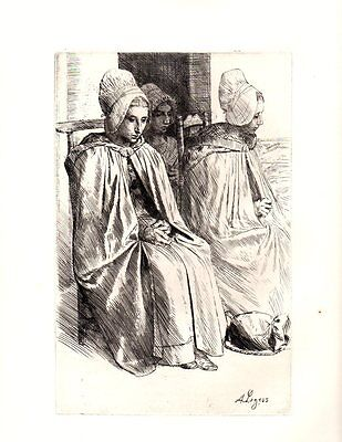 BOULOGNE PEASANT WOMEN LEGROS Etching Antique Art Print c