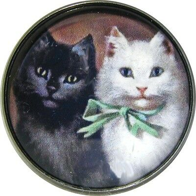 Black & White Vintage Cat  Crystal Dome Button FREE US SHIPPING C 67