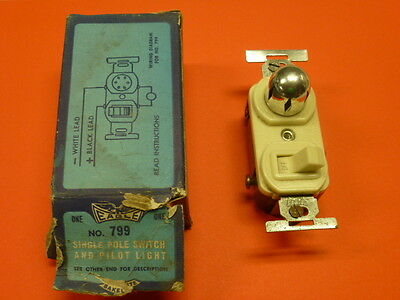 NOS! Eagle SINGLE POLE SWITCH & PILOT LIGHT, #799, BROWN or IVORY