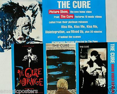 """THE CURE """"PICTURE SHOW & VIDEO CATALOG"""" 2-SIDED U.S. VIDEO POSTER-New Wave Music"""