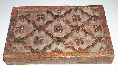 Antique Hand Carved Wooden Print Block